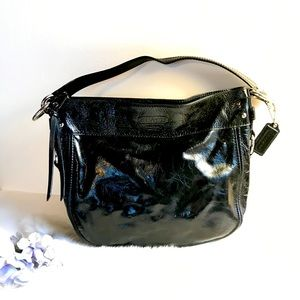 Coach Zoe Patent Leather Convertible Bag Black